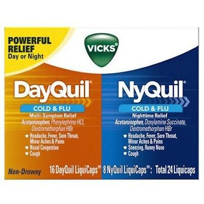 DayQuil NyQuil Combo Pack 24ct (16 DaQuil & 8 NyQuil Caps) Cold & Flu