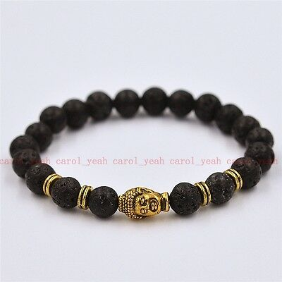 Fashion volcanic 8mm copper Buddha buddhist beads men's bracelet