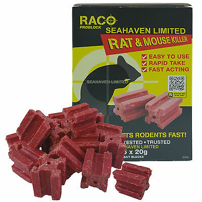300g RACO RAT / MOUSE / MICE RODENT KILLER - BLOCK BAIT POISON - EASY TO USE