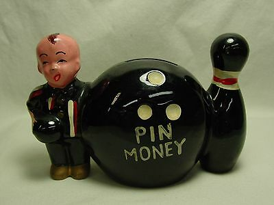 Antique Redware Bank Bowling Pin Money Vtg Japan Ceramic Pottery Old Bowler Gift