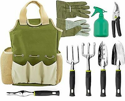 Vremi 9 Piece Garden Tools Set with 6 Ergonomic Gardening Tools includes Digg...