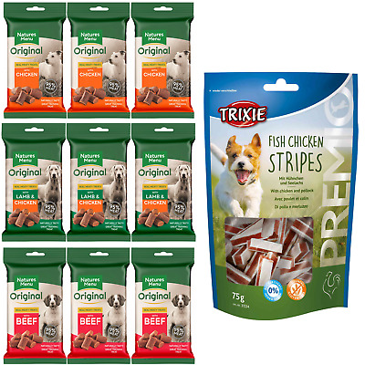 Natures Menu Dog Treat Pack 3 of each flavour + free Trixie chicken & pollock