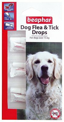 Beaphar Large Dog Flea And Tick Drops 12 Weeks 3 Treatments for Dogs Over 15kg