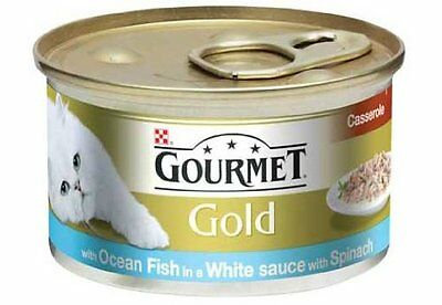 Cat Food Gourmet Gold Dual Casserole Fish & Spinach 85g Pack Of 12 Cans