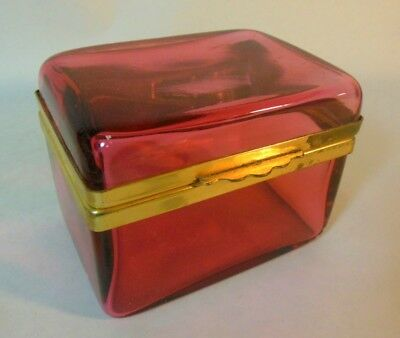 Antique French CRANBERRY Pink Glass Sugar Casket Trinket Jewelry Hinged Box