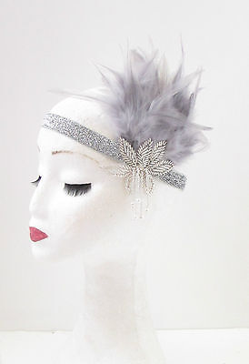 Grey & Silver Feather Vintage Headpiece 1920s Great Gatsby Flapper Headband 64