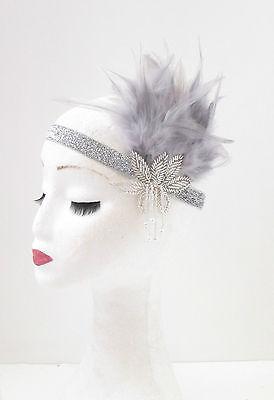 Grey & Silver Feather Vintage Headpiece 1920s Great Gatsby Flapper Headband 64