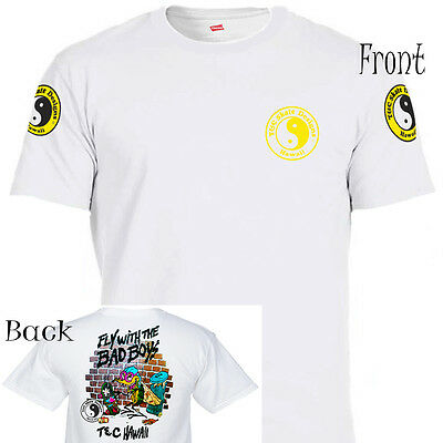 """T&C,Town and Country Hawaii, """"Fly With The Bad Boys"""" T-Shirt,All Sizes,T-1015Wht"""