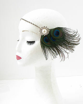 Silver Pearl Peacock Feather Headpiece 1920s Great Gatsby Flapper Headband 70
