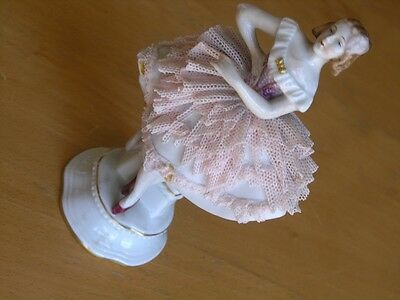 Antique Dresden Sitzendorf Porcelain Figurine Female Dancer Ballerina Laced
