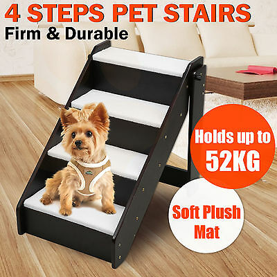 Wooden 4 Steps Dog Cat Pet Stairs Ladder Plush Cover Mat Ramp Portable Puppy
