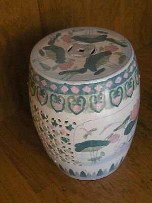 "Vintage Chinese Glazed Ceramics Barrel Shape Garden Seat Hand Painted 18x14"" 9kg"