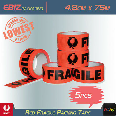 5x 45U Packing Fragile Tape 4.8CM*75M Red Sticky Sealing Post Wine Glass Box CT4