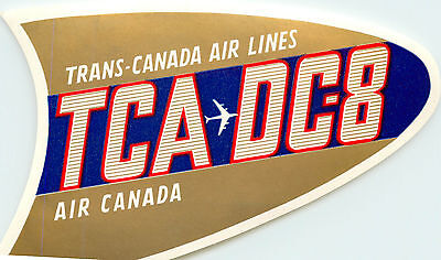 TRANS CANADA AIRLINE / TCA ~DC-8 Aircraft~ Great Old Luggage Label, 1960