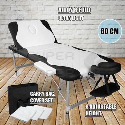 Portable Aluminium Massage Table 3 Fold Bed Therapy Waxing 80cm White