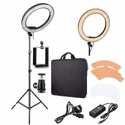 "UK ES240 18"" 5500K Dimmable LED Adjustable Ring Light with Diffuser ,light stand"
