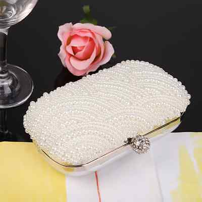 Handmade Pearl Clutch Evening Bag Handbag Purse Bridal Wedding Party Beaded Prom