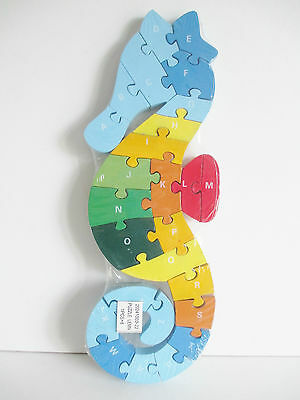 Wooden seahorse shape jigsaw/puzzle numbers& letters,educational toy