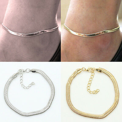 Women SILVER/GOLD Ankle Bracelet Chain Adjustable Anklet Fashion jewellery - UK