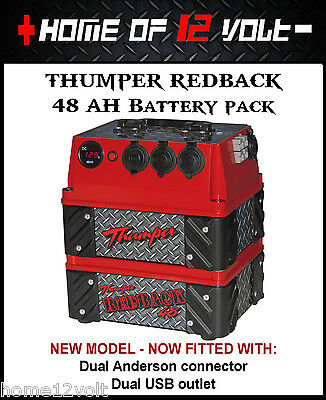 Thumper Redback 48 AH AGM Pack Portable dual battery system USB ENGEL CIGARETTE