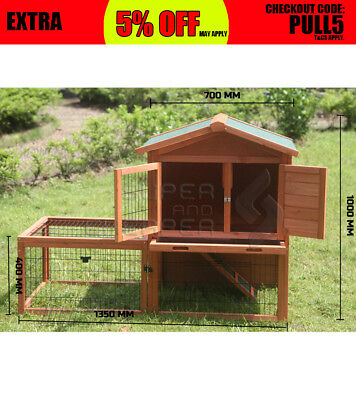 Wooden Chicken Hen Coop Rabbit Hutch 2 Level Ferret Guinea Pig Cage