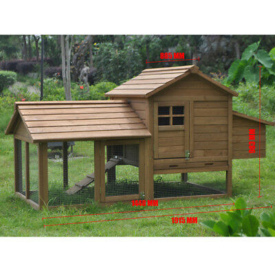 Extra Large Wooden Chicken Coop Rabbit Hutch 2 Level with TRAY