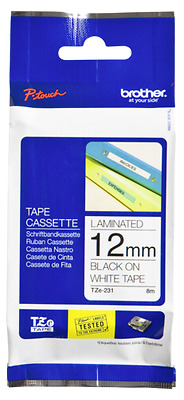 Brother Labelling Tape Tze-231 White/black   12 Mm New