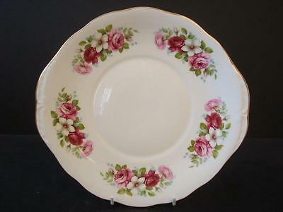 Queen Anne Bone China Red Pink And White Roses With Gilt Twin Handled Cake Plate