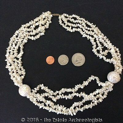 Vintage HOBE' Faux Keshi Pearls & Mother of Pearl NECKLACE