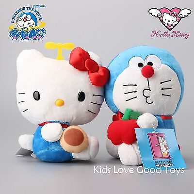 2X Hello Kitty Doraemon Cosplay Plush Toy Soft Stuffed Animal Doll 7'' Figures