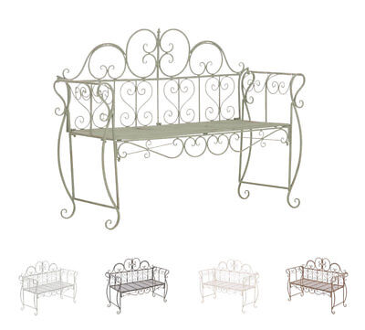 Garden Bench Minna Iron Shabby Chic Metal Seat Antique Bronze White Brown New