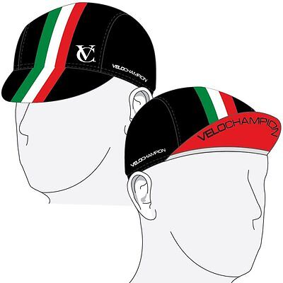 VeloChampion Under Helmet Cycling Cap - Italian Flag Design - One Size