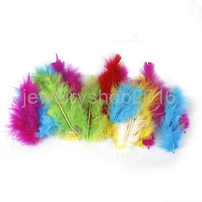 120x Mixed Colors Dyed Feathers 8-13cm for Tying Jewelry Craft Millinery