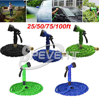 Expandable Flexible Garden Water Hose + Spray Nozzle Head 25 50 75 100FT