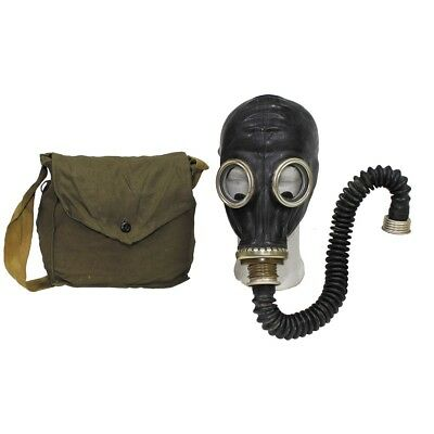 Russian Soviet Army Black Gas Mask - Hose- Filiter -Bag - New / Unissued Surplus