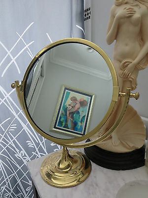 Very large Antique Brass Shaving / Vanity One sided Mirror Oval