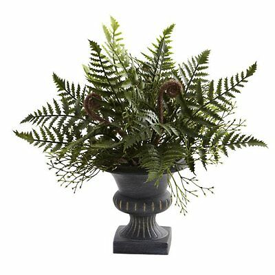 Nearly Natural 4976-S3 Mixed Fern Bush with Urn- Green- Set of 3