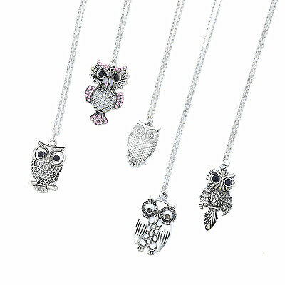 Wholesale 4 PCS/Lot Cute Mixed Designs Hollow Crystal Owl Pendant Necklaces Gift