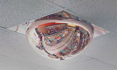 """#1 Rated 22"""" Dia. One-Piece T-Bar Drop-In Security Full Dome Mirror -Made in USA"""