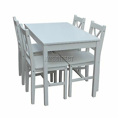 COSMETIC DAMAGE Solid Wooden Dining Table With 4 Chairs Set Kitchen white