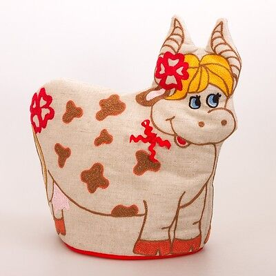 Funny Cow Tea Cozy (Teapot Doll) Made in Russia Cotton Linen Blend SALE