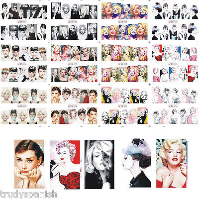 Full Wrap Water Transfers Nail Art Decals Pop Audrey Hepburn Marilyn Monroe