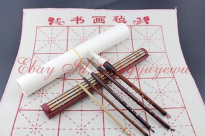 Lot of 5 Pcs Chinese Ink Painting Sumi-e Flower Bird Brush+1Pc BAMBOO Roll