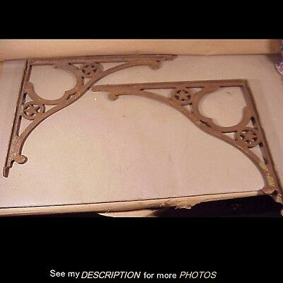 Antique Pair Large Cast Iron Western Star Shelf Brackets