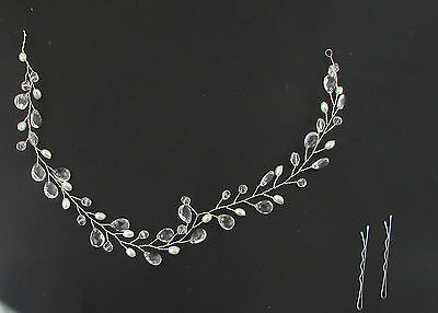 Long Silver Ivory White Pearl Wire Hair Vine Bridal Headpiece Clip Headband 83