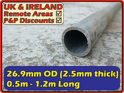 Galvanised Mild Steel Round Tube (pipe, post,pole) 26.9 (>25mm) 2.5mm | metre ft