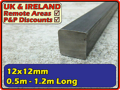 "Mild Steel Square Bar (flat, iron,solid) | 12x12mm (0.5"" 1/2"") 12mm x 12mm"