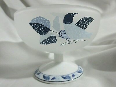 Yukiko Hanai by Marui Corp Blue and White Bird Water Wine Goblet Cup