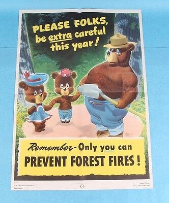 Original Wwii Era 1946 Smokey Bear Usfs Forest Fire Poster By Ros Wetzel *mint*