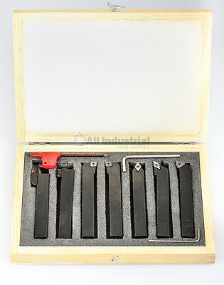 """3/8"""" Indexable Turning Tool 7 Pc. Set With Carbide Inserts Tool Bit Lathe Set"""